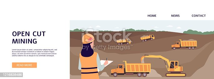 istock Open cut mining banner with industrial worker woman and industrial trucks 1216838486