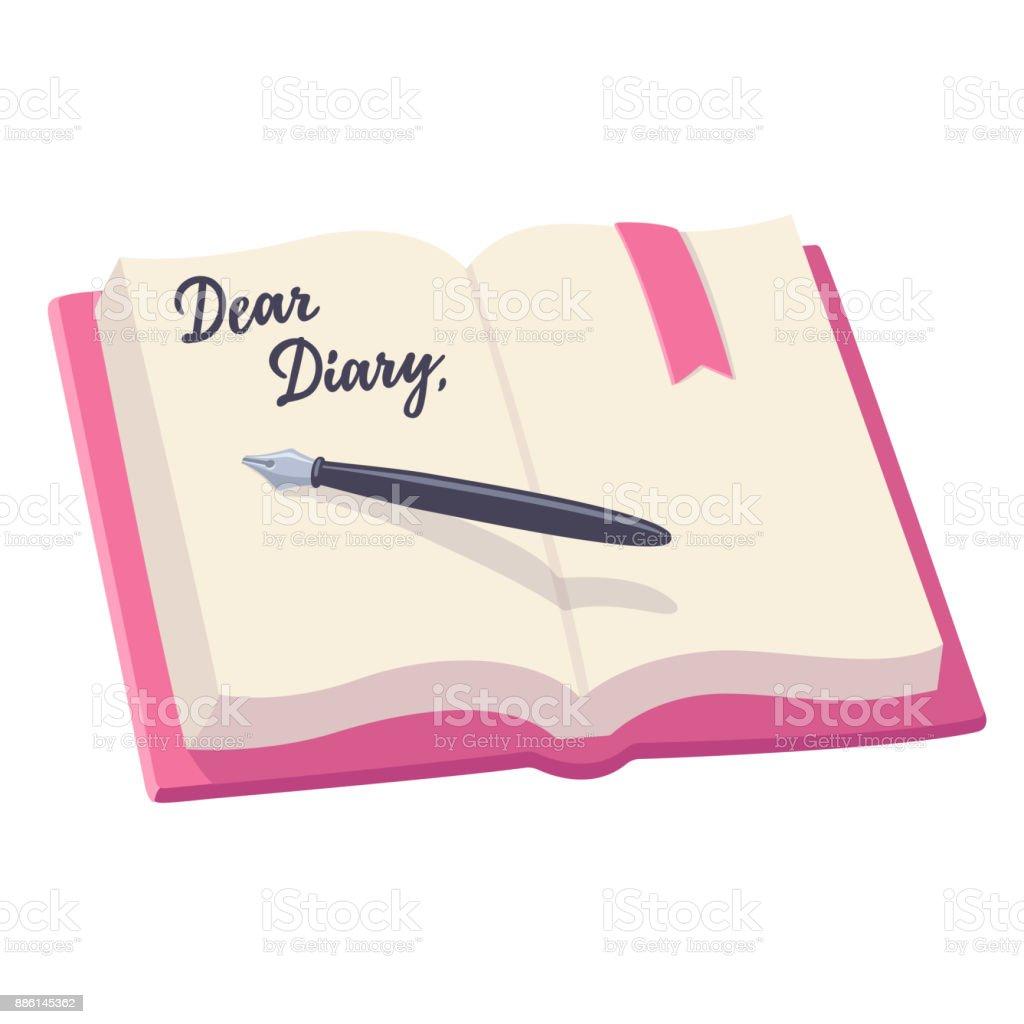Open diary illustration vector art illustration