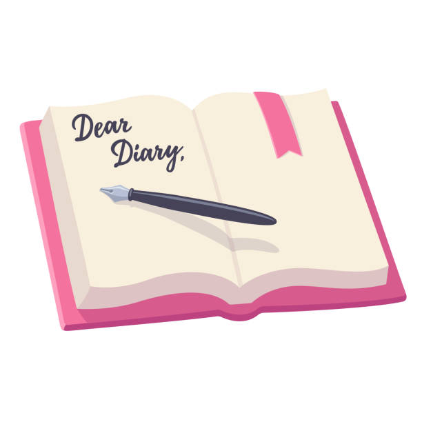 Open diary illustration Open notebook with pen and written words Dear Diary. Journal entry vector illustration. diary stock illustrations