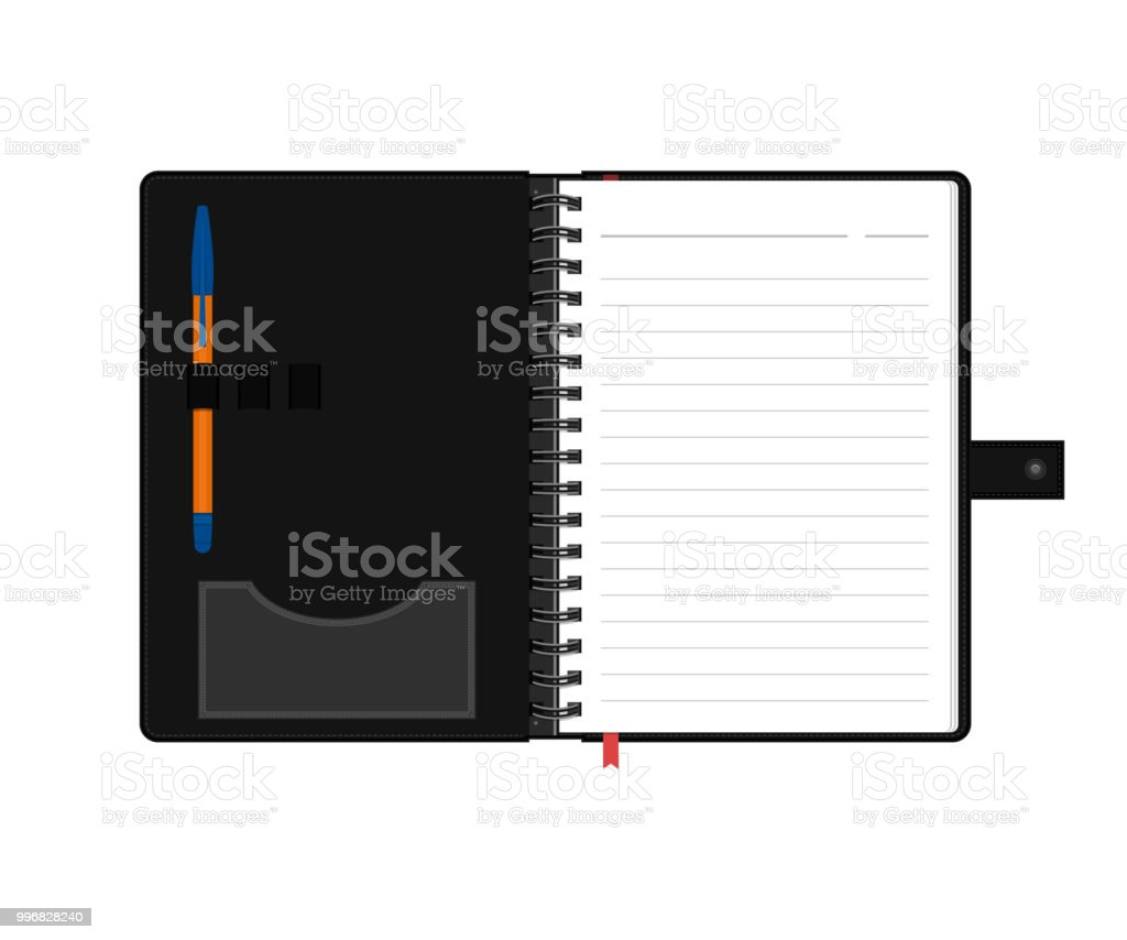 Pages 828 Wiring Library Club Car Xrt 1550 Diagram Open Diary Or Personal Organizer With Empty And Pen Isolated On White Background Daily