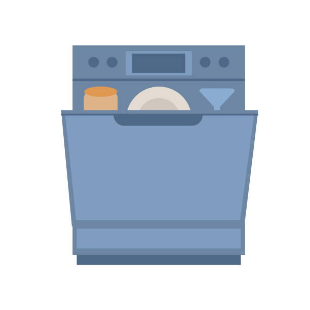 Open Dishwasher with dishes inside. Modern household appliance for washing dishes, isolated on a white background. Vector illustration in  flat style Open Dishwasher with dishes inside. Modern household appliance for washing dishes, isolated on a white background. Vector illustration in  flat style dishwashing machine stock illustrations