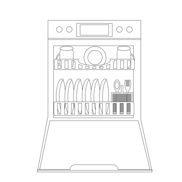 Open Dishwasher with dishes inside. Modern household appliance for washing dishes, isolated on a white background. Vector illustration in  linear style Open Dishwasher with dishes inside. Modern household appliance for washing dishes, isolated on a white background. Vector illustration in  linear style dishwashing machine stock illustrations