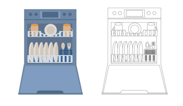 Open Dishwasher with dishes inside. Modern household appliance for washing dishes, isolated on a white background. Vector illustration in flat and linear style Open Dishwasher with dishes inside. Modern household appliance for washing dishes, isolated on a white background. Vector illustration in flat and linear style dishwashing machine stock illustrations