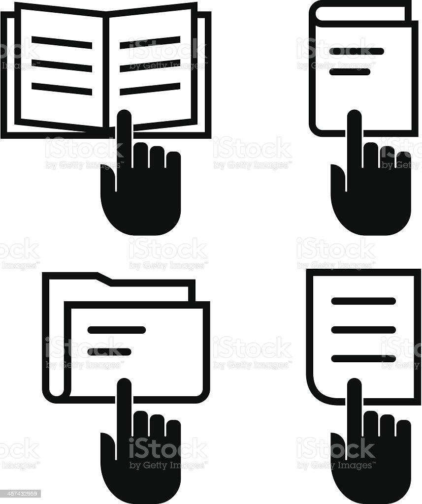 Open document icon set vector art illustration
