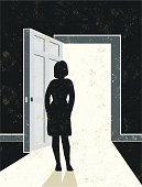New Beginnings! A stylized vector cartoon of woman by an open door with light streaming in, the style is reminiscent of an old screen print poster. Suggesting opportunity, hope, leaving, departure, moving on, death, escape, or opening doors. Door, woman, wall, paper texture and background are on different layers for easy editing. Please note: clipping paths have been used, an eps version is included without the path.
