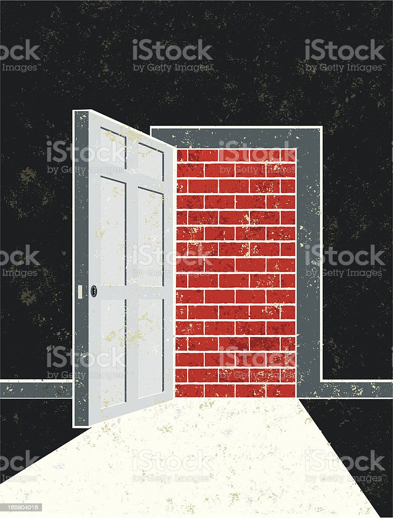 Open Door and Doorway Opening onto a Brick Wall vector art illustration