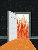 No Way Out! A stylized vector cartoon of a door opening into a fire, the style is  reminiscent of an old screen print poster. Suggesting no opportunity, no hope, no escape, fire wall, danger, unexpected or fire doors. Door, Fire, paper texture and background are on different layers for easy editing. Please note: clipping paths have been used,  an eps version is included without the path.