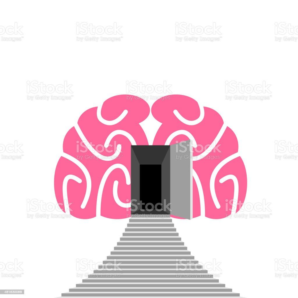 Offene Tür und Schritt des menschlichen Gehirns. Eingang in unterbewusst. – Vektorgrafik