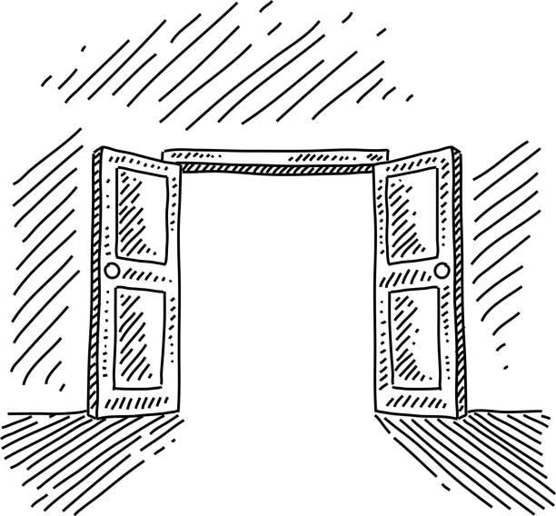 Dessin porte ouverte vecteurs et illustrations libres de for Porte ouverte dessin