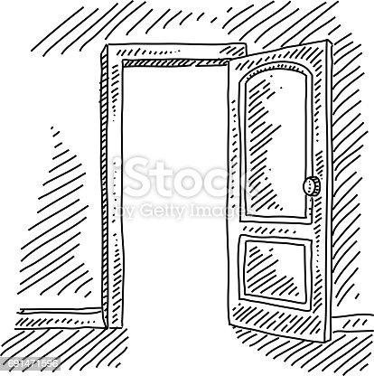 Open Door Concept Drawing Stock Vector Art & More Images ...