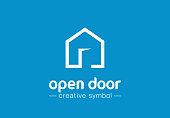 Open door creative symbol concept. Home button, build architecture, real estate agency abstract business pictogram. House interior, web site login icon