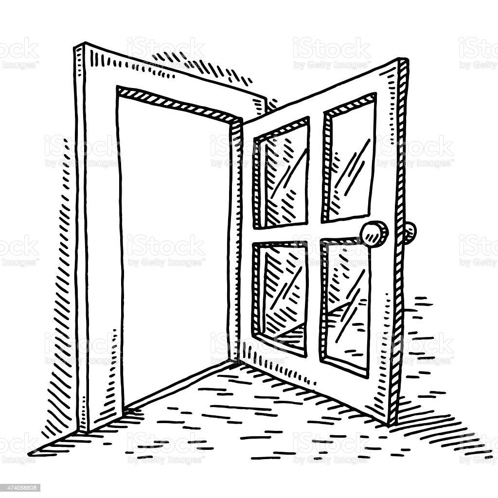 Open Door Drawing vector art illustration