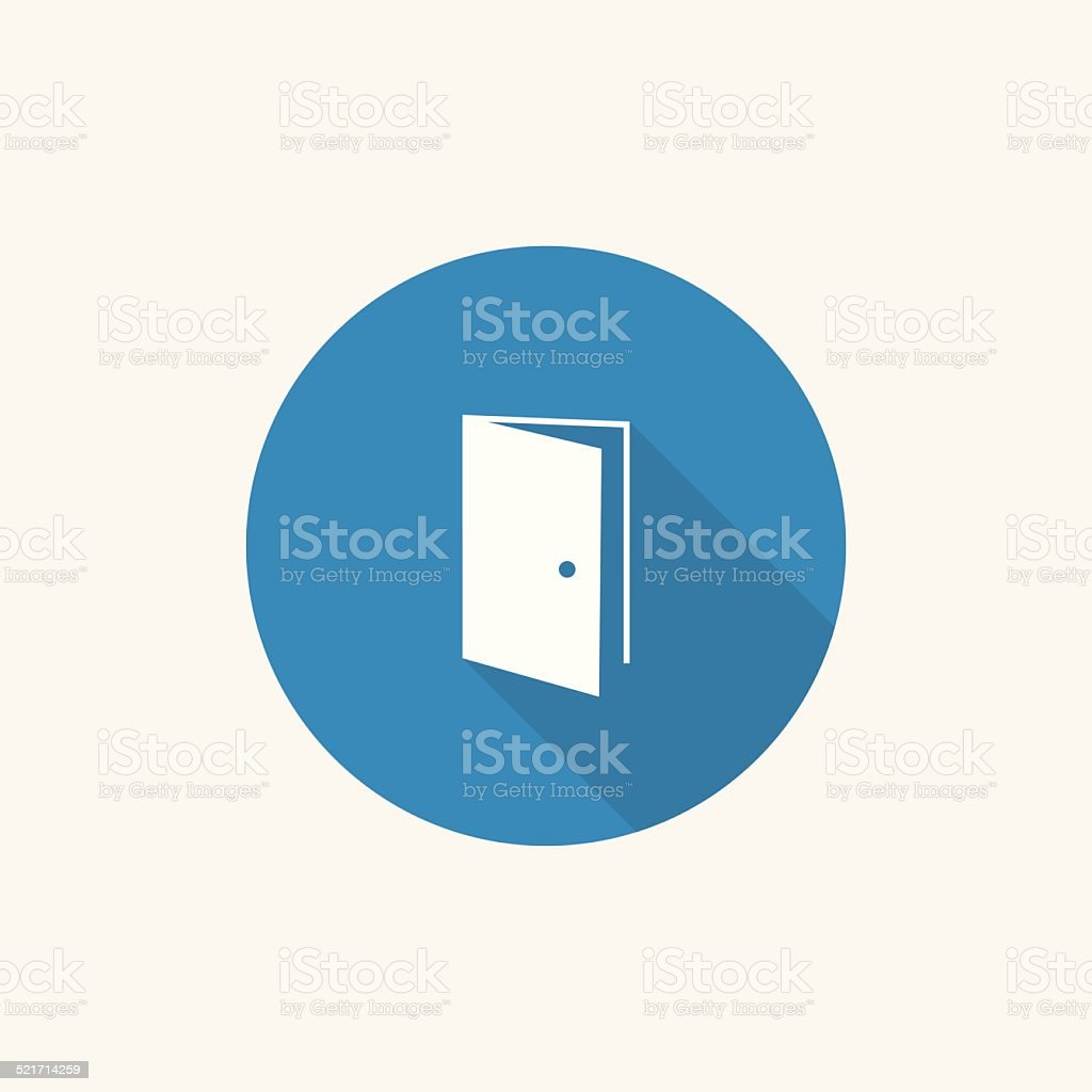 open door Flat Blue Simple Icon with long shadow vector art illustration