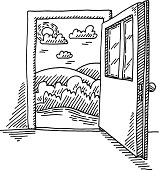 Hand-drawn vector drawing of a Open Door Freedom Concept. Black-and-White sketch on a transparent background (.eps-file). Included files are EPS (v10) and Hi-Res JPG.
