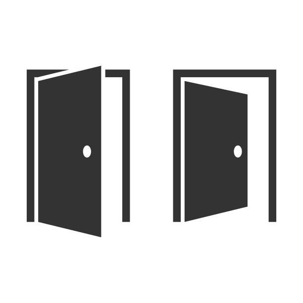 ilustrações, clipart, desenhos animados e ícones de design vetorial do ícone da porta aberta. - aberto