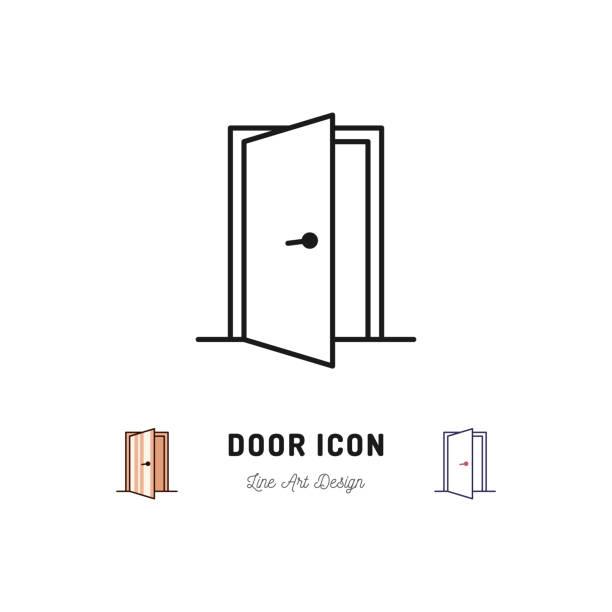 ilustrações, clipart, desenhos animados e ícones de ícone de porta aberta. símbolo de arte vetor linha fina - aberto