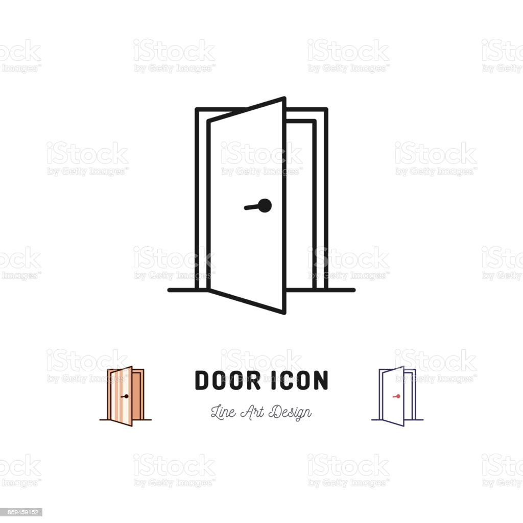 Open Door icon. Vector thin line art symbol vector art illustration