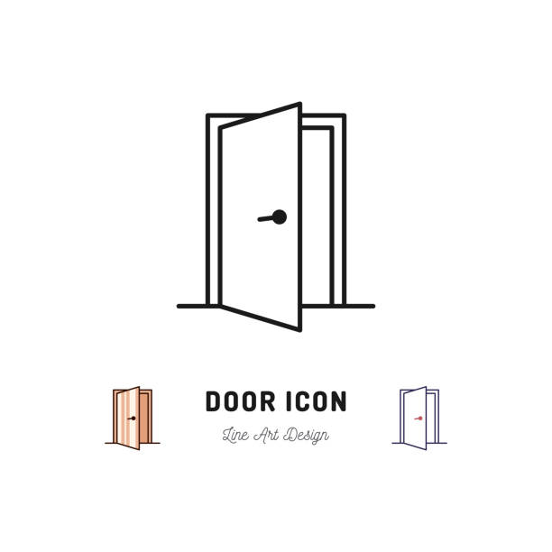Open Door icon. Vector thin line art symbol Open Door icon, Vector thin line art symbol door stock illustrations