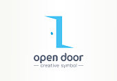 Open door, in and out creative symbol concept. Enter, exit, real estate agency abstract business pictogram. Home furniture, room interior, doorway icon.