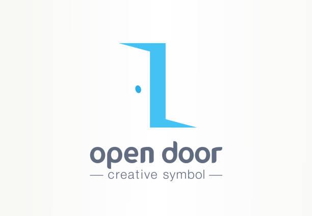 ilustrações, clipart, desenhos animados e ícones de abra a porta, conceito criativo dentro e fora do símbolo. entrar, sair, imóveis agência negócio abstrato pictograma. mobília home, quarto interior, ícone da porta. - aberto
