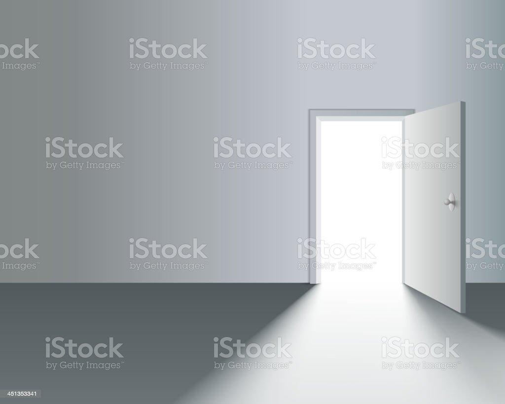 Open Door in Wall vector art illustration