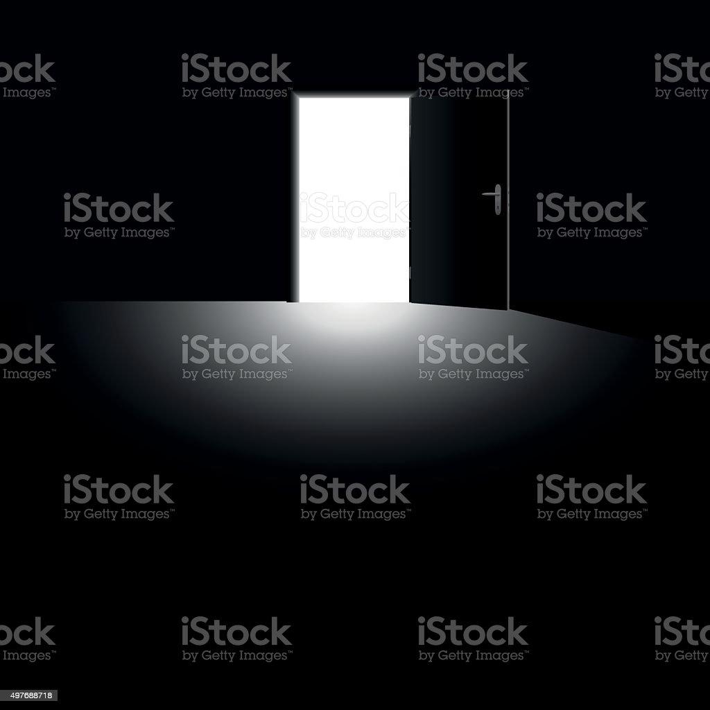 Open Door Light Escape Darkness Black vector art illustration