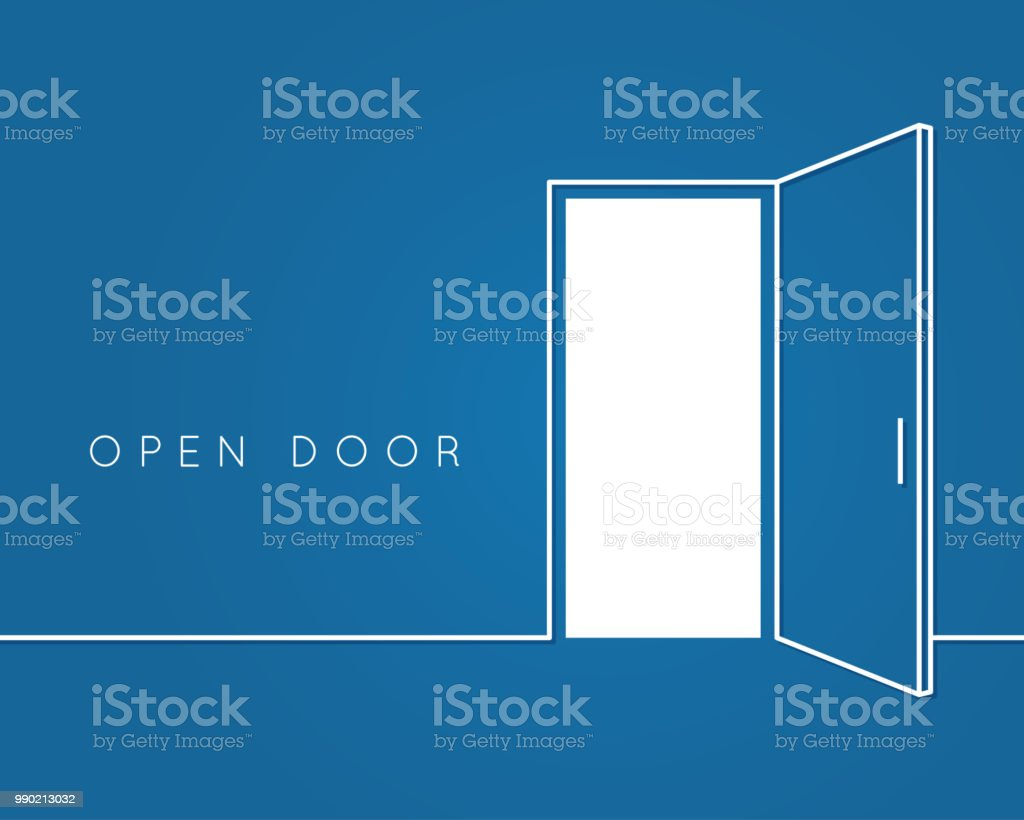 Open door line concept. Blue room logo vector background