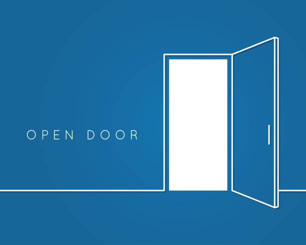 ilustrações, clipart, desenhos animados e ícones de conceito de linha de porta aberta. fundo do quarto azul logo vector - aberto