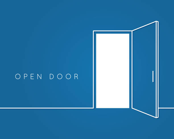 Open door line concept. Blue room logo vector background Open door line concept. Blue room logo vector background 10 eps modern interior stock illustrations