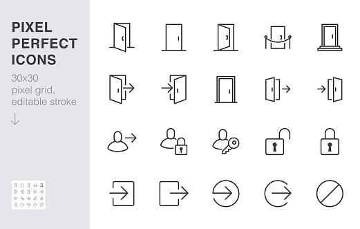 Open door line icon set. Login, logout, register, password, vip entrance, key, lock, exit minimal vector illustrations. Simple outline signs for web application. 30x30 Pixel Perfect. Editable Strokes.
