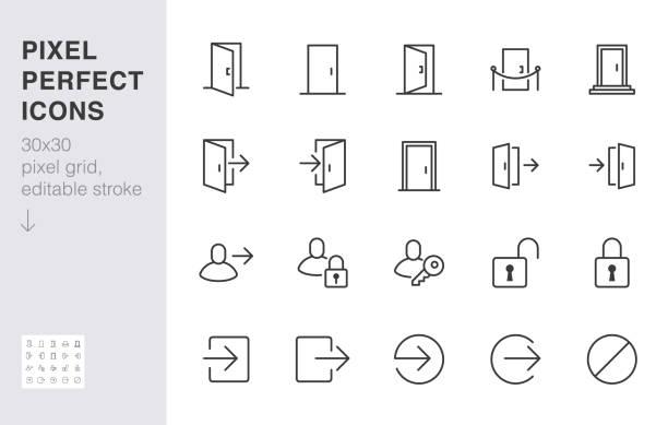 öffnen sie das türliniensymbol. login, abmeldung, register, passwort, vip-eingang, schlüssel, sperre, beenden minimaler vektor-illustrationen. einfache gliederungszeichen für die webanwendung. 30x30 pixel perfekt. bearbeitbare striche - offen allgemeine beschaffenheit stock-grafiken, -clipart, -cartoons und -symbole