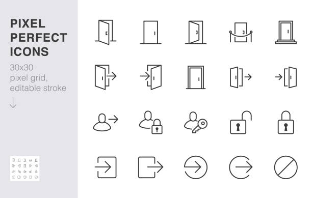Open door line icon set. Login, logout, register, password, vip entrance, key, lock, exit minimal vector illustrations. Simple outline signs for web application. 30x30 Pixel Perfect. Editable Strokes Open door line icon set. Login, logout, register, password, vip entrance, key, lock, exit minimal vector illustrations. Simple outline signs for web application. 30x30 Pixel Perfect. Editable Strokes. door stock illustrations
