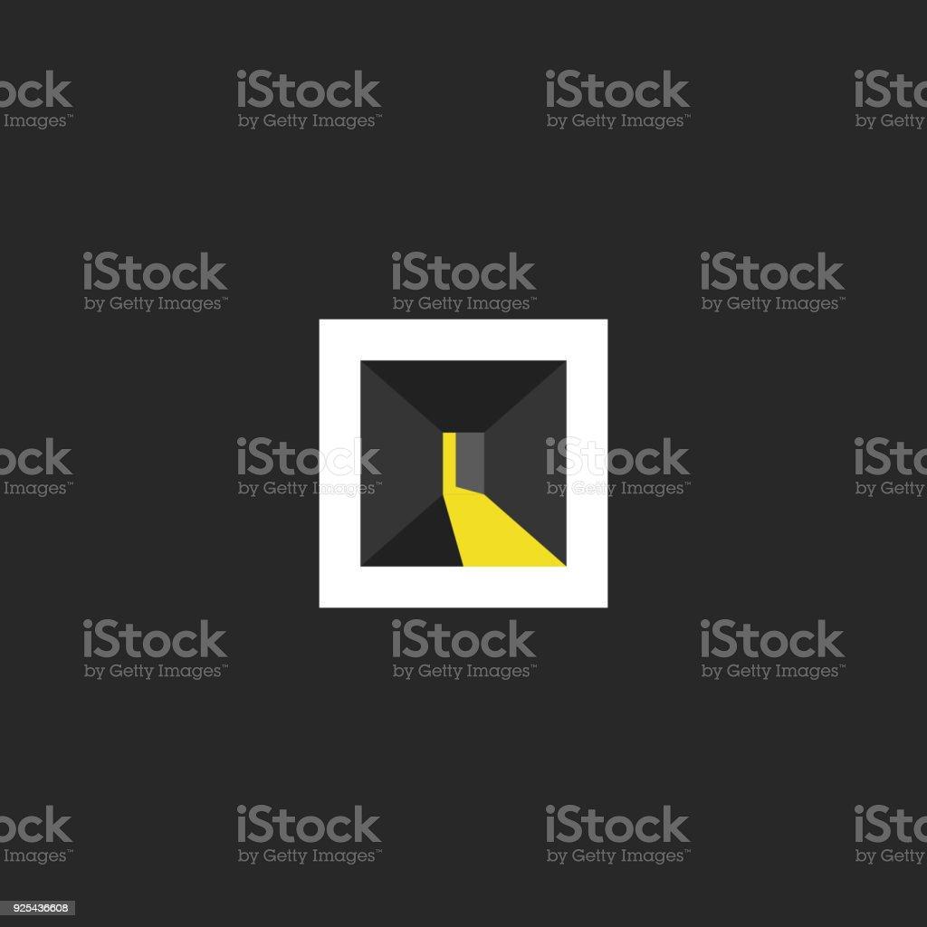 Ilustración de Diseño De Logotipo De Open Door Resumen Cuarto Oscuro ...