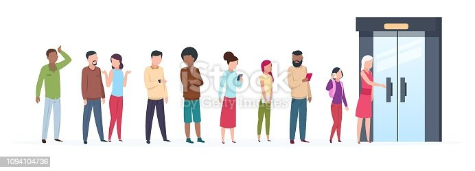 Open door queue. Trending people characters standing outside young adult customer line group stylish clothes. Flat vector illustration