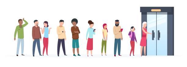 ilustrações, clipart, desenhos animados e ícones de fila de porta aberta. pessoas de tendências personagens do lado de fora da linha do cliente adulto jovem grupo roupas elegantes. ilustração plana - esperar