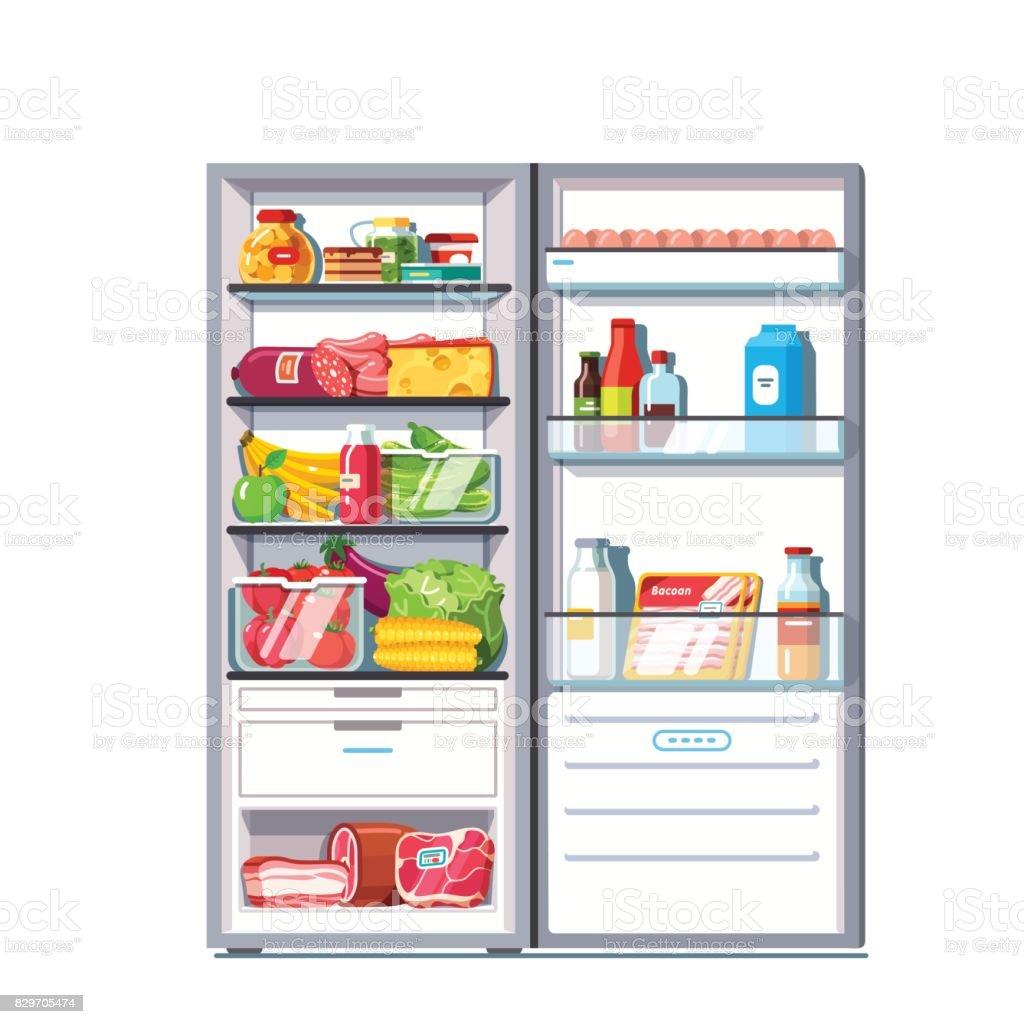 Open door refrigerator full of vegetables, fruits vector art illustration
