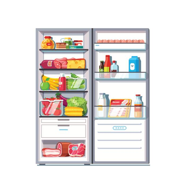Open door refrigerator full of vegetables, fruits Open door refrigerator full of vegetables, fruits, meat and dairy products. Fridge with freezer. Flat style vector illustration isolated on white background. refrigerator stock illustrations