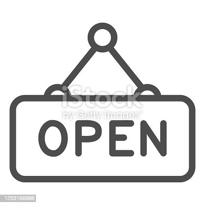 istock Open door signboard line icon, shopping concept, open hanging sign on white background, Open signboard symbol in outline style for mobile concept and web design. Vector graphics. 1253166966