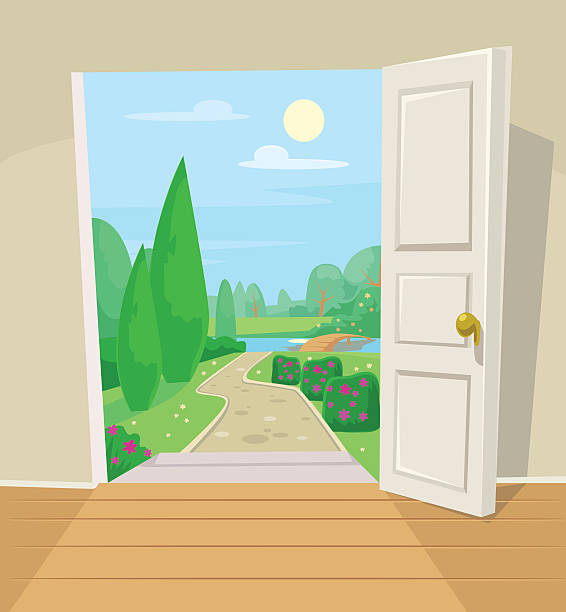 open door to garden. vector cartoon illustration - türposter stock-grafiken, -clipart, -cartoons und -symbole