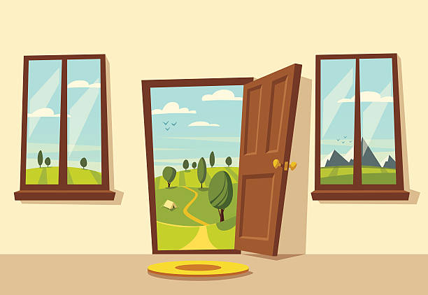 open door. valley landscape. cartoon vector illustration. - 玄関点のイラスト素材/クリップアート素材/マンガ素材/アイコン素材