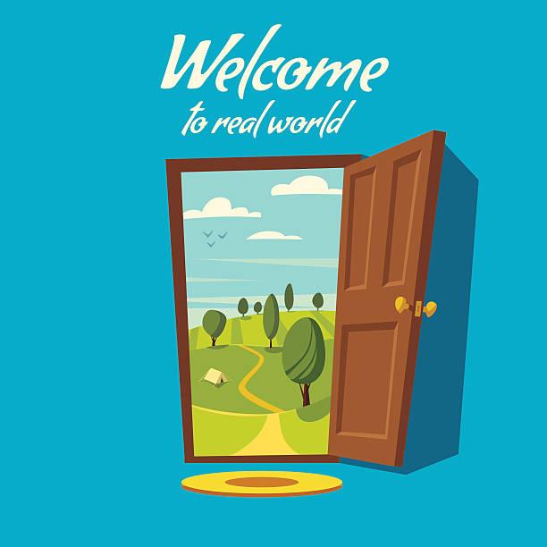 Open door. Valley landscape. Cartoon vector illustration. Open door. Valley landscape. Cartoon vector illustration. Vintage poster. Welcome to real world. Retro style door stock illustrations