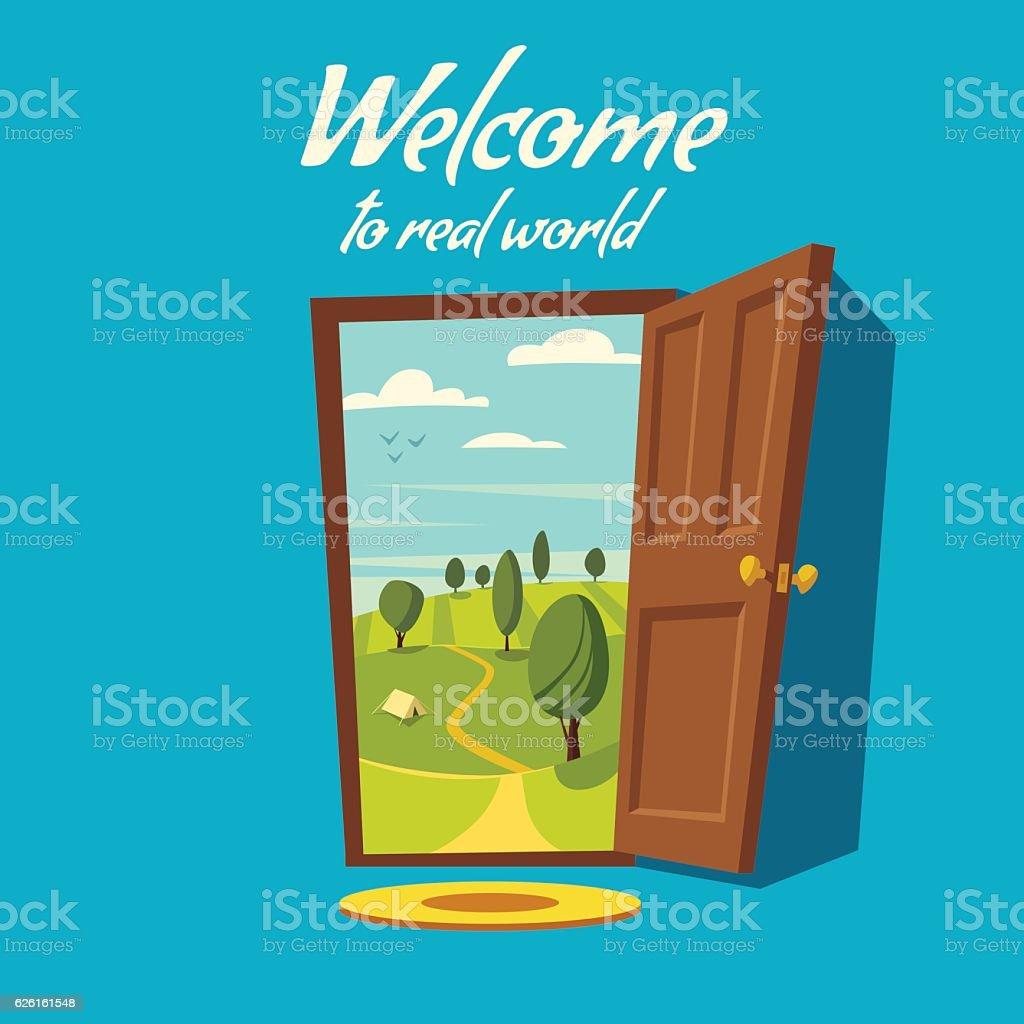 Open door. Valley landscape. Cartoon vector illustration. vector art illustration