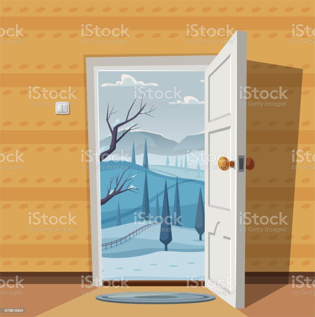 open door welcome.  Welcome Open Door Valley Landscape Cartoon Vector Illustration Vintage Poster  Welcome To Winter On Door