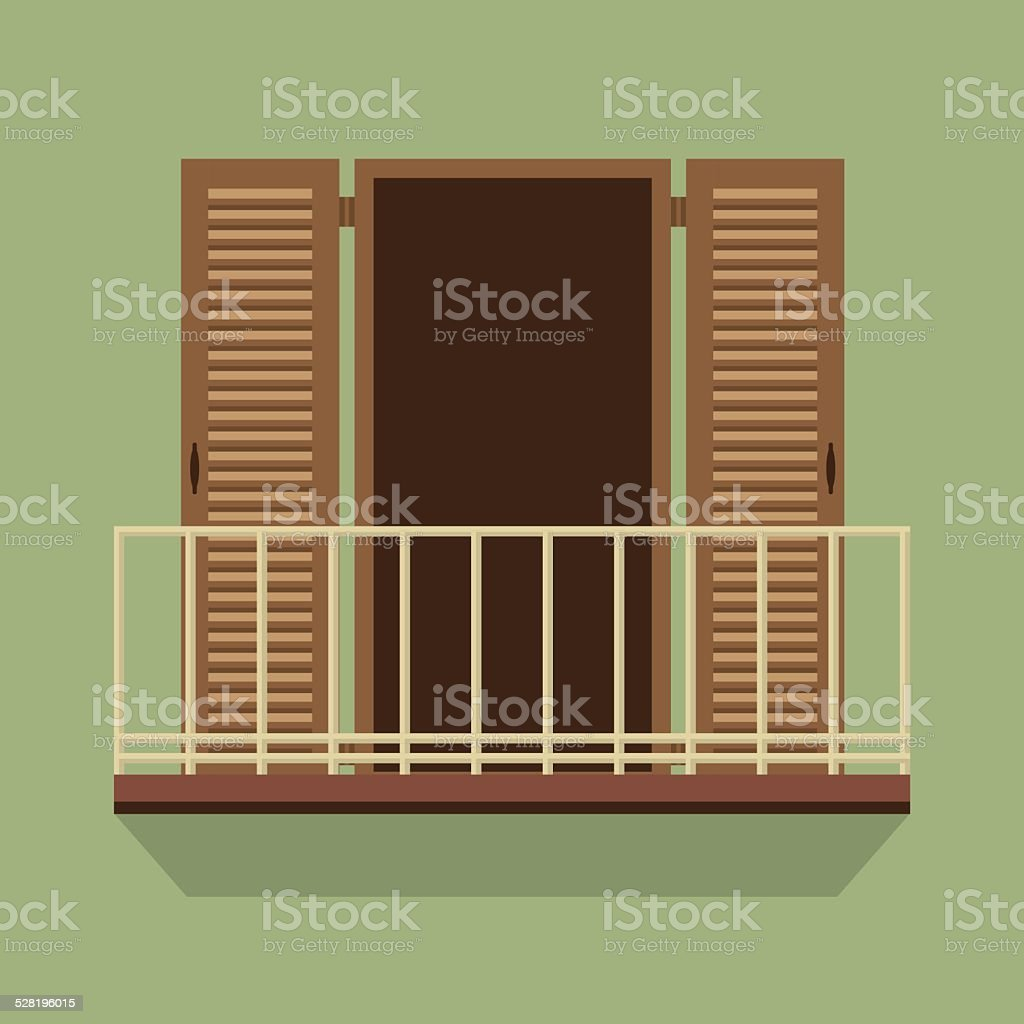 Open Door With Balcony Vintage Style vector art illustration