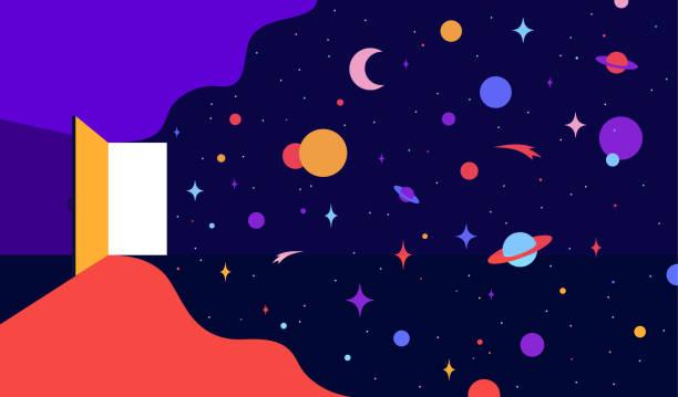 stockillustraties, clipart, cartoons en iconen met open deur met universum dromen. moderne platte illustratie - new world