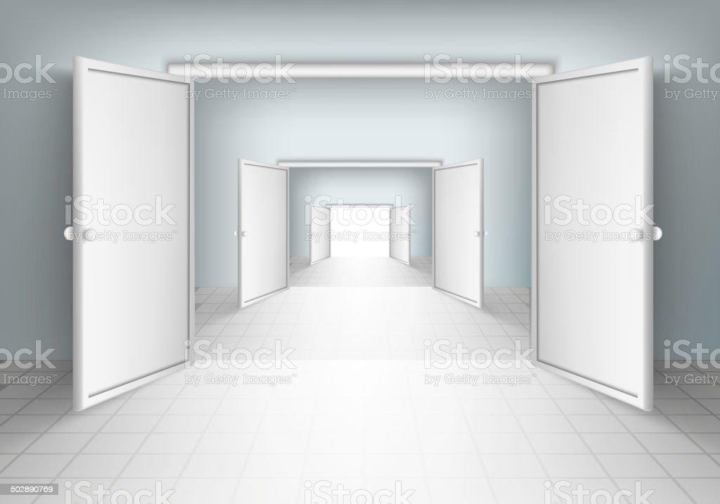 open doors in rooms vector art illustration