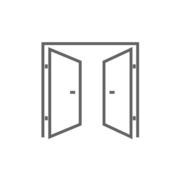 Open doors line icon Open doors thick line icon with pointed corners and edges for web, mobile and infographics. Vector isolated icon. gate stock illustrations