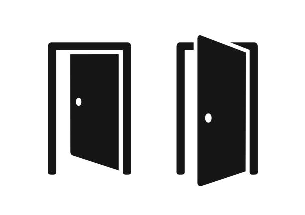 Open doors push or pull simple black icons Open doors push or pull simple black icons vector illustration on white background opening stock illustrations