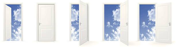 Open doors to sky Set of closed and open doors to sky. door stock illustrations