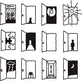 A dozen doors open to reveal a variety of symbolic images.